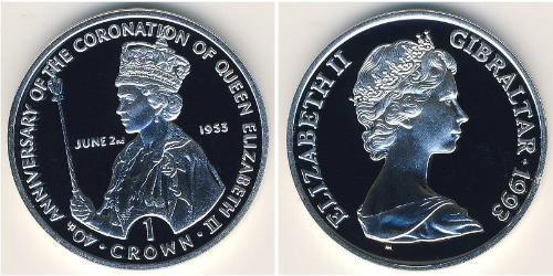 1 Крона Гибралтар Серебро