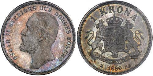 1 Крона Швеция Серебро Оскар II (1829-1907)