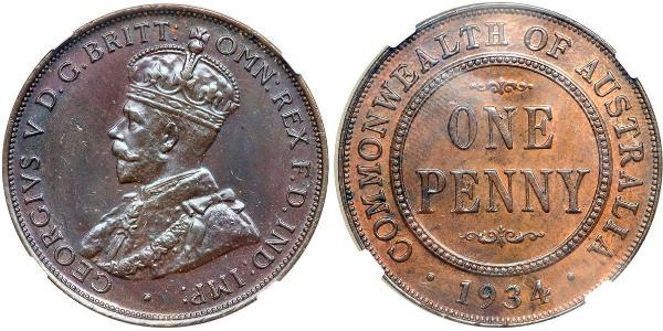 1 Пенни Австралия (1788 - 1939) Бронза Георг V (1865-1936)