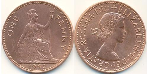 1 Пенни Великобритания (1922-) Бронза Елизавета II (1926-)