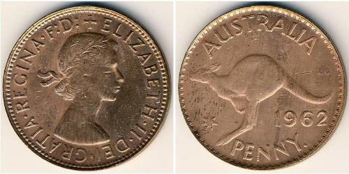1 Пені Австралія (1939 - ) Бронза Єлизавета II (1926-)