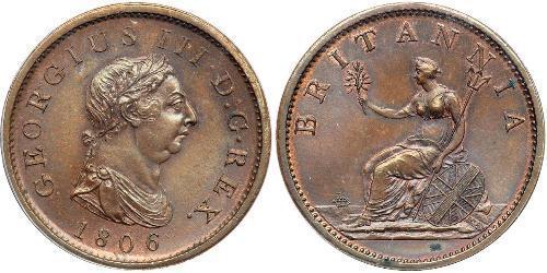 1 Пені Сполучене королівство Великобританії та Ірландії (1801-1922) Мідь Георг III (1738-1820)