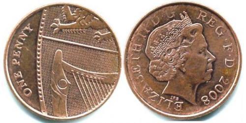 1 Пені Велика Британія (1922-) Мідь/Залізо Єлизавета II (1926-)