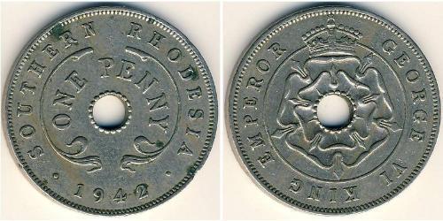 1 Пені Південна Родезія (1923-1980) Нікель/Мідь Георг VI (1895-1952)
