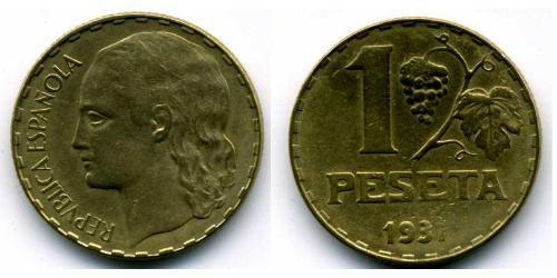 1 Песета Вторая Испанская Республика (1931 - 1939) Латунь