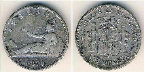 1 Песета Королевство Испания (1814 - 1873) Серебро