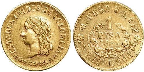 1 Песо Соединённые Штаты Колумбии (1863 - 1886) Золото