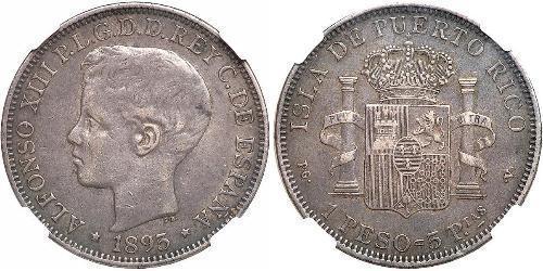 1 Песо Пуэрто-Рико Серебро Alfonso XIII of Spain (1886 - 1941)