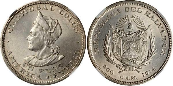1 Песо Сальвадор Серебро Христофор Колумб (1451 - 1506)