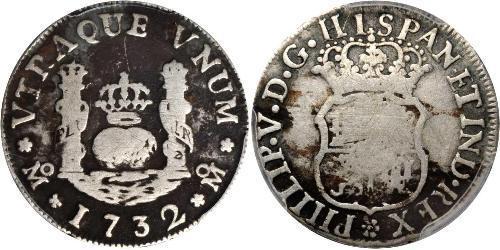 1 Реал Новая Испания (1519 - 1821) Серебро Филипп V король Испании (1683-1746)