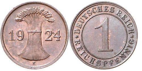 1 Рейхспфенниг / 1 Пфенниг Веймарская республика (1918-1933) Бронза