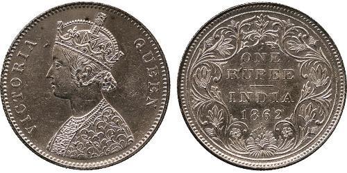 1 Рупия Британская Индия (1858-1947) Серебро Виктория (1819 - 1901)