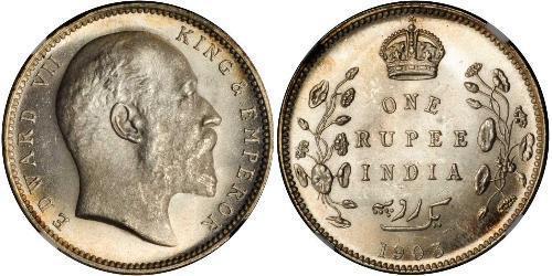 1 Рупія Британська Індія (1858-1947) Срібло Едвард VII (1841-1910)