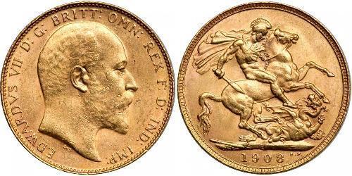 1 Соверен Австралія (1788 - 1939) Золото Едвард VII (1841-1910)