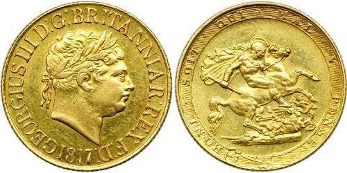 1 Соверен Сполучене королівство Великобританії та Ірландії (1801-1922) / Велика Британія  Золото Георг III (1738-1820)