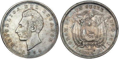 1 Сукре Эквадор Серебро Сукре, Антонио Хосе (1795 - 1830)