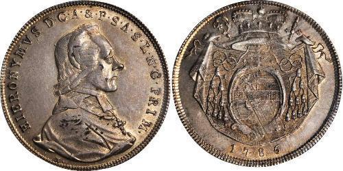 1 Талер Австрія / Зальцбург Серебро Count Hieronymus von Colloredo (1732 - 1812)