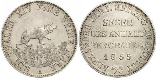 1 Талер Ангальт-Бернбург (1603 - 1863) Серебро Александр Карл ,герцог Ангальт-Бернбурга,(1805 – 1863)