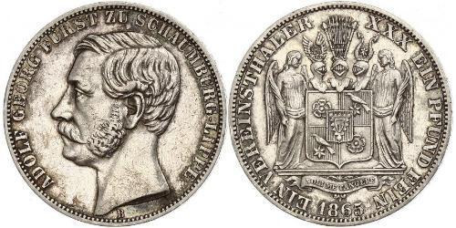 1 Талер Шаумбург-Липпе (1643 - 1918) Серебро Адольф I Георг (князь Шаумбург-Липпе)