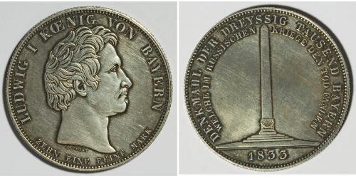 1 Талер Королівство Баварія (1806 - 1918) Срібло Людвиг I (король Баварії)(1786 – 1868)