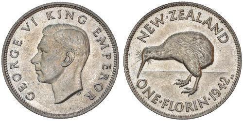 1 Флорин Новая Зеландия Серебро Георг VI (1895-1952)