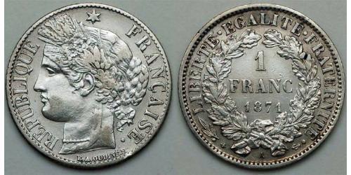 1 Франк / 200 Рейс Третья французская республика (1870-1940)  Серебро