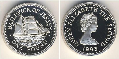 1 Фунт Джерси Серебро Елизавета II (1926-)