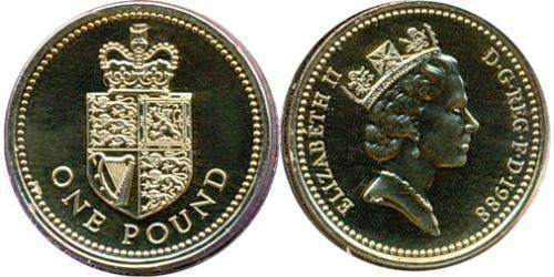 1 Фунт Великобритания (1922-)  Елизавета II (1926-)