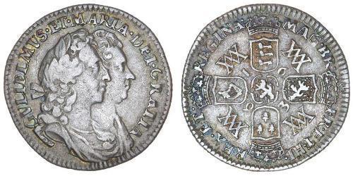 1 Шестипенсовик Королевство Англия (927-1649,1660-1707) Серебро Вильгельм III (1650-1702)