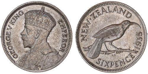 1 Шестипенсовик Новая Зеландия  Георг V (1865-1936)