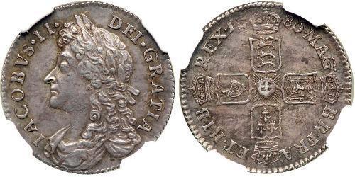 1 Шестипенсовик / 6 Пенни Королевство Англия (927-1649,1660-1707) Серебро Яков II (1633-1701)