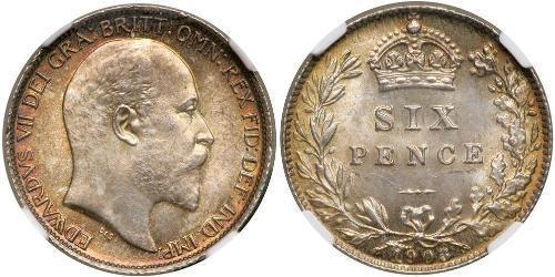 1 Шестипенсовик / 6 Пенни Соединённое королевство Великобритании и Ирландии (1801-1922) Серебро Эдуард VII (1841-1910)