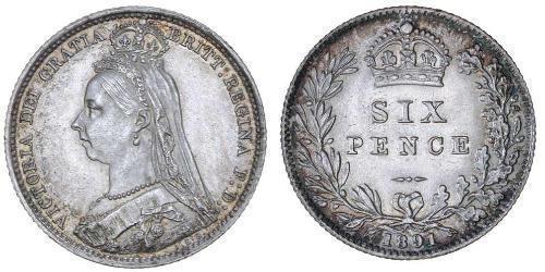 1 Шестипенсовик / 6 Пенни Соединённое королевство Великобритании и Ирландии (1801-1922) Серебро Виктория (1819 - 1901)