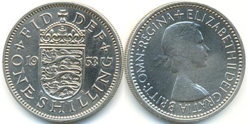 1 Шилінг Велика Британія (1922-) Нікель/Мідь Єлизавета II (1926-)