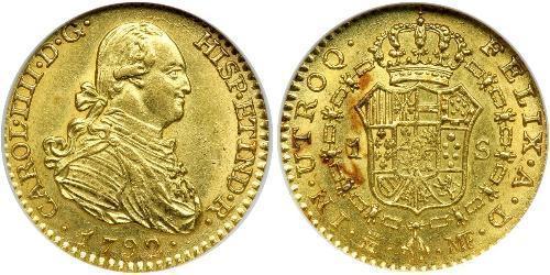 1 Эскудо Испанская империя (1700 - 1808) Золото Карл IV король Испании (1748-1819)