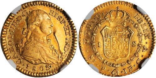 1 Эскудо Новая Гранада (1717 - 1819) Золото Карл IV король Испании (1748-1819)
