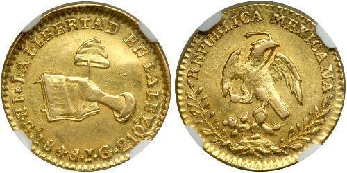 1 Эскудо Second Federal Republic of Mexico (1846 - 1863) Золото