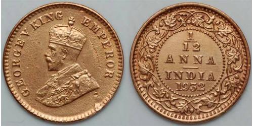 1/12 Anna British Raj (1858-1947)