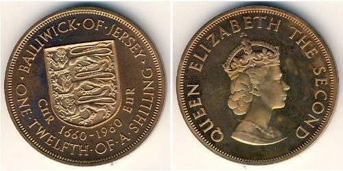 1/12 Shilling Jersey Kupfer