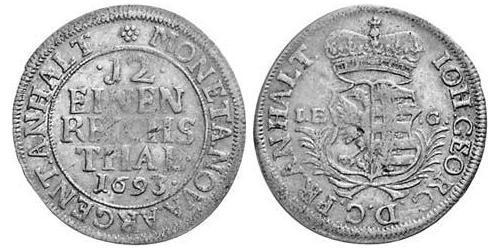 1/12 Thaler Anhalt-Dessau (1603 -1863) Silver John George II, Prince of Anhalt-Dessau (1627 – 1693)