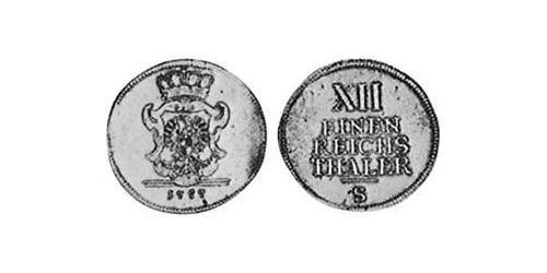 1/12 Thaler Principality of Ansbach (1398–1792) Silver Charles Alexander, Margrave of Brandenburg-Ansbach (1736 – 1806)