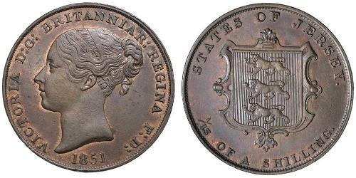 1/13 Shilling Jersey Kupfer Victoria (1819 - 1901)