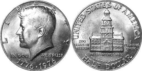 1/2 Долар США (1776 - ) Нікель/Мідь Джон Фітцджеральд Кеннеді  (1917-1963)