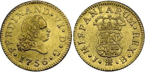 1/2 Ескудо Іспанська Імперія (1700 - 1808) Золото Фердинанд VII король Іспанії (1784-1833)