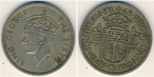 1/2 Крона(английская) Южная Родезия (1923-1980) Никель/Медь Георг VI (1895-1952)
