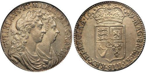 1/2 Крона(английская) Королевство Англия (927-1649,1660-1707) Серебро Вильгельм III (1650-1702)