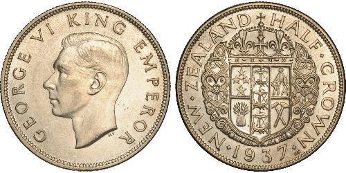 1/2 Крона(английская) Новая Зеландия Серебро Георг VI (1895-1952)