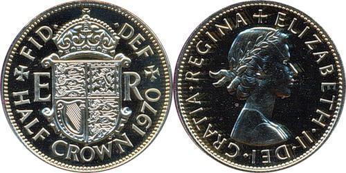 1/2 Крона Великобритания (1922-) Никель/Медь Елизавета II (1926-)