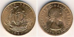 1/2 Пені Велика Британія (1922-) Бронза Єлизавета II (1926-)