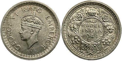 1/2 Рупия Британская Индия (1858-1947) Серебро (билон) Георг VI (1895-1952)